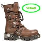 NEW ROCK M.373-V5 VEGAN LEATHER, BROWN TOBERAS REACTOR HOLE UNISEX  BOOTS