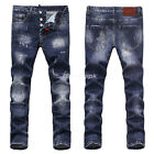 New Mens Italy Distressed Slim Pants Scratchs Washed Blue JEANS Trousers D1822T