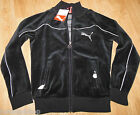 Puma girl black velour zipped jacket tracksuit top size 9-10 y 140 cm BNWT