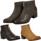 WOMENS LADIES CHELSEA FAUX LEATHER CHUNKY LOW BLOCK HEEL ZIP ANKLE BOOTS SHOES