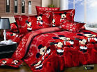 Red Mickey Mouse Duvet/Quilt Cover Bed Set Minnie Cotton king Double Size Xmas