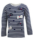 Girls Toddlers Navy Stripe T Shirt Bow & Hearts Long Sleeve Kids Tops 12m-5-6y