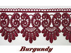 5/8* to 5-1/8* Wide Burgundy Floral Embroidered Venice Lace Guipure Trim by Yard