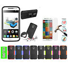 Dual Layer Hybrid Kickstand Cover + Tempered Glass Protector For Motorola Phones