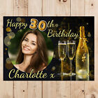 Personalised Black & Gold Glitz Happy Birthday Party PHOTO Banner N104 ANY AGE