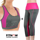 Ladies Womens Running Yoga Fitness Gym 3/4 Leggings & Sports Bra Crop Top