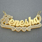 2 Inch Personalized 10K Gold 3D Double Plate Large Name Pendant Necklace ND19