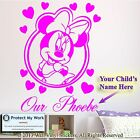 Minnie Mouse Personalised Kids Children Name Vinyl Wall Sticker Art Decal face