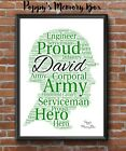 Soldier Army Personalised Armed Forces Word Art Christmas Gift Print Son Dad