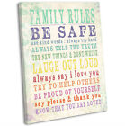 Family Rules Canvas Print Typographic Framed Wall Art Picture