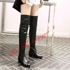 Women's Low Heel Knight Boots Pull On Over Knee High Boots Stretchy Party Shoes
