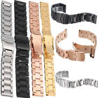 Steel Metal Solid Stainless Deployment Clasp Watch Strap Band Bracelet 18-24mm