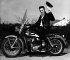 Elvis Presley on a Harley Davidson Motorcycle, 1950's, Photo Print