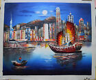 100% Hand Painted Oil Painting Abstract Art The Victoria Of Hongkong No Frame