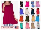 NEW Womens 3/4 Sleeve Tunic Top Dress Round Neck Blouse USA S M L XL Plus 2X 3X