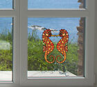 "Clr:wnd - Seahorse Pair - Stained Glass Window Vinyl Decal ©yydc(each 2""w X 5""h)"