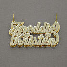 3D Pendant Custom Made Script Names Charm for Couple Real Solid 10k Gold ND91
