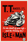 Vintage 1950s Motorcycle Poster TT Races Isle of Man British Biker Triumph BSA $4.47 USD on eBay