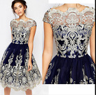 2017Retro Womens Sexy Lace Wedding Bridesmaid Ball Prom Evening Party Gown Dres