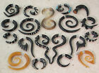 Womens/Mens Tribal Earrings Handmade Spiral piercing Black Horn Surgical steel