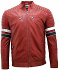 Men's Racing Red Leather Biker Jacket