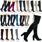 Snivy OTK Over The Knee Thigh High Slouchy Boots w/ Back Lace Tie & Block Heel