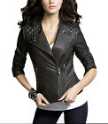 Women New Genuine Lambskin Leather Jacket Motorcycle Biker Size XS S M L XL L856