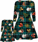CHILDREN GIRLS XMAS MOTHER & DAUGHTER CHRISTMAS GREEN TARTAN PRINT SWING DRESS