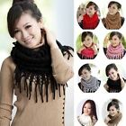 Women Winter Warm Infinity 2 Circle Cable Knit Cowl Neck Long Tassel Scarf Shawl