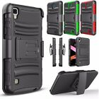 For LG X Power, K6P Holster Dual Layer Combo Case Kickstand Hybrid Phone Cover