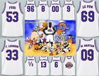 Space Jam Basketball Jersey Tune Squad Retro Stitched Top Embroidered White Rare