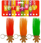 1 6 or 12 Troll Keyring Coloured Hair Pencil Topper - Kids Party Bag Filler Toy