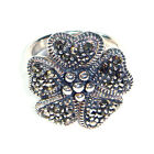 Heart Petals FLOWER RING Marcasite Stones .925 Sterling Silver (SIZE 6,7,8)