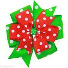 6 inch Hair Bow Girl Bowknot Boutique Lined Clip Grosgrain Ribbon Christmas