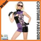 Womens Lady Gaga Pop Rock Star Licensed Fancy Dress Retro Costume All Sizes