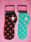 Isaac Mizrahi New York Anklets 2 Pair Red & Black Green & Purple Polka Dots Chic