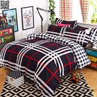 Double/Queen/King Size Bed Quilt/Duvet Cover Set Pillowcas Black&White Check New