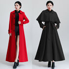 Womens Woolen Maxi Coat Trench Cape Poncho Black Red Coat Dress Winter Overcoat