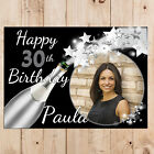 Personalised Happy Birthday Poster Banner Print N105 Black & Silver ANY AGE