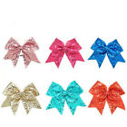 8 Inch Large Girls Sequin Cheer Bows Elastic Bands Ribbon Cheer Bow Boutique