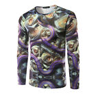 MEN'S White Rose Floral 3D Printing Long Sleeve Casual T-Shirt