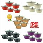 Sq Pro Induction Based Die Cast Non Stick Ceramic Coated Cooking Pot Set 8 Color
