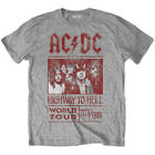 AC/DC Highway To Hell World Tour 1979/80 Grey T-shirt Size S to XXL NEW OFFICIAL