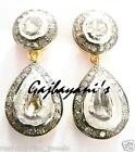 GORGEOUS 14K GOLD/SILVER  ROSE CUT DIAMOND POST EARRING VTJ EHS