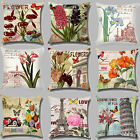 Butterfly Flower Eiffel Tower Cotton Pillowcase Cushion Cover Home Sofa Car Deco