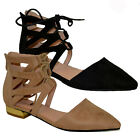 WOMENS LADIES LACE UP FLAT STRAPPY CROSS OVER SUMMER GLADIATOR SANDALS SHOES