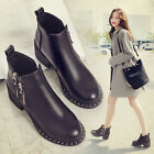 Popular Ladies Womens Zipper Ankle Boots Synthetic Leather Winter Shoes Black