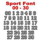 00 - 30 Sport Font Number Set - Vinyl Decal Stickers Numbers Select Color & Size