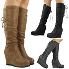 NEW WOMENS LADIES LACE UP ZIP PLATFORM MID CALF HIGH HEEL WEDGE BOOTS SHOES SIZE
