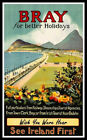 Bray Ireland FRIDGE MAGNET 6 x 9.5 Vintage Travel Poster Magnetic Canvas Print